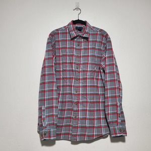 Land's End red gray plaid button front shirt